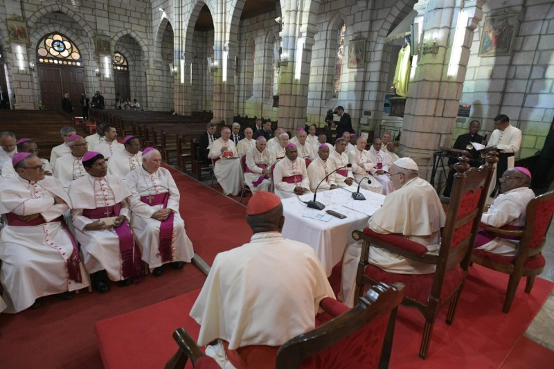 Un momento del diálogo con el Papa