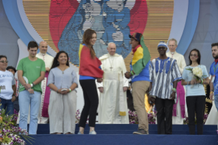 7-Apostolic Journey to Panama: Welcome ceremony and opening of WYD at Campo Santa Maria la Antigua – Cinta Costera
