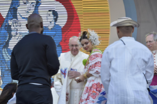9-Apostolic Journey to Panama: Welcome ceremony and opening of WYD at Campo Santa Maria la Antigua – Cinta Costera