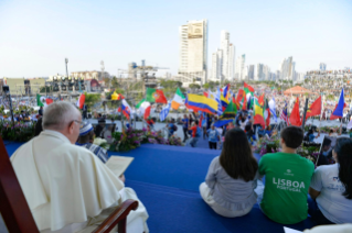 13-Apostolic Journey to Panama: Welcome ceremony and opening of WYD at Campo Santa Maria la Antigua – Cinta Costera