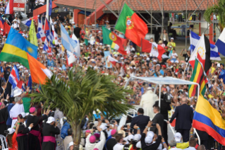 19-Apostolic Journey to Panama: Welcome ceremony and opening of WYD at Campo Santa Maria la Antigua – Cinta Costera