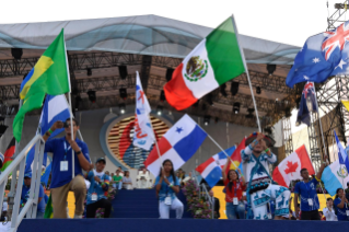 22-Apostolic Journey to Panama: Welcome ceremony and opening of WYD at Campo Santa Maria la Antigua – Cinta Costera