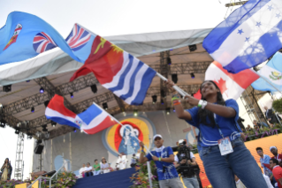 18-Apostolic Journey to Panama: Welcome ceremony and opening of WYD at Campo Santa Maria la Antigua – Cinta Costera
