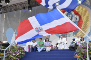 21-Apostolic Journey to Panama: Welcome ceremony and opening of WYD at Campo Santa Maria la Antigua – Cinta Costera