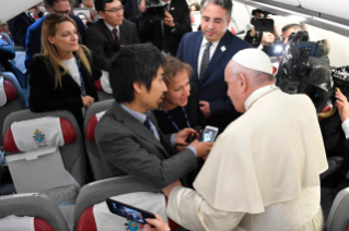 2-Apostolic Journey to Thailand and Japan: Greeting to journalists on the flight to Bangkok